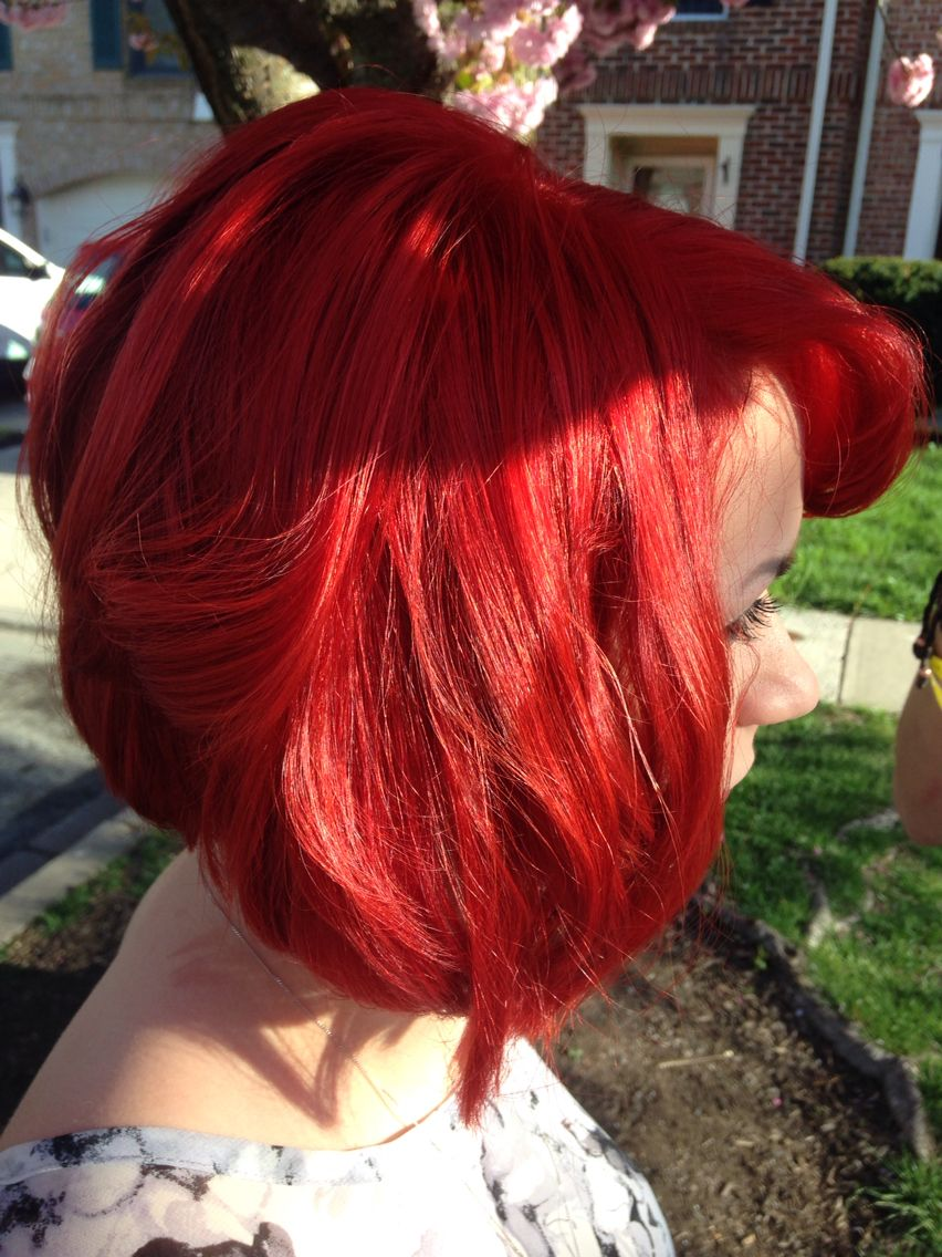 Graduation cut and bright red color hair stuff pinterest