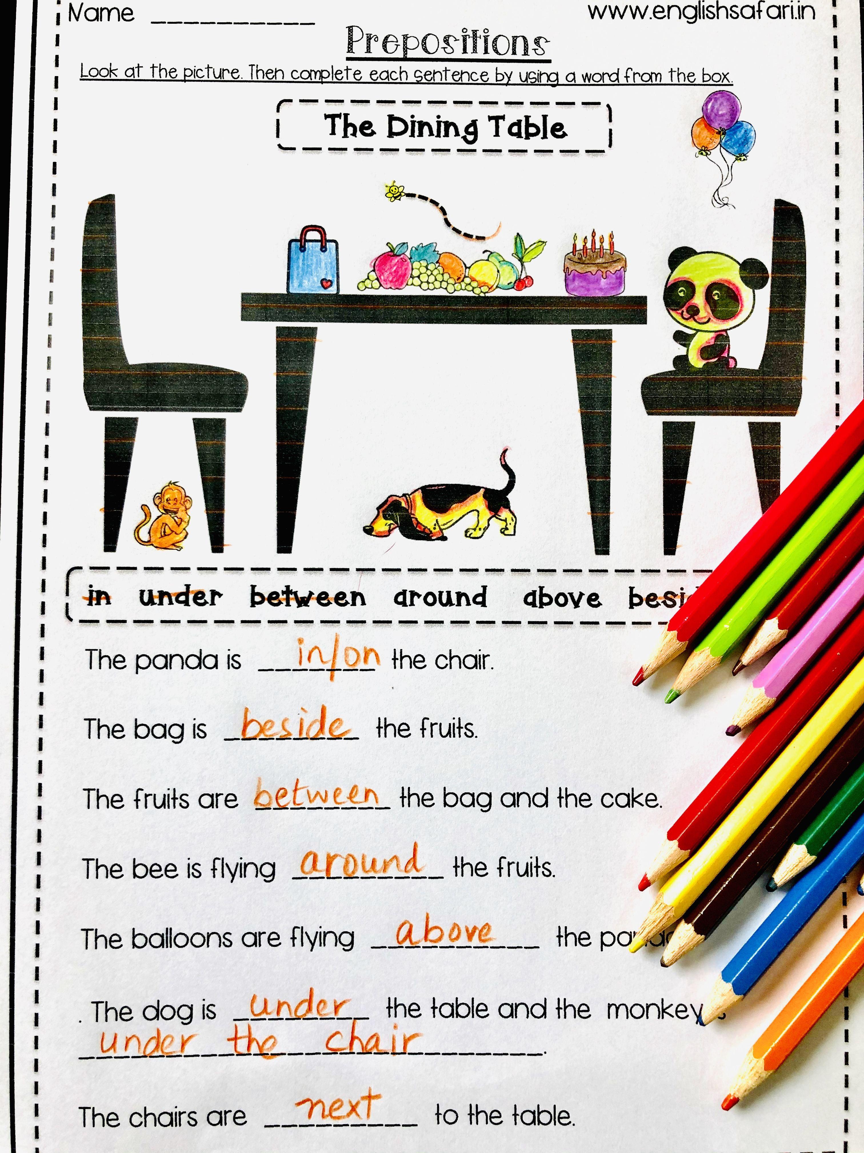 FREE** prepositions worksheet www.englishsafari.in   Preposition worksheets [ 4032 x 3024 Pixel ]