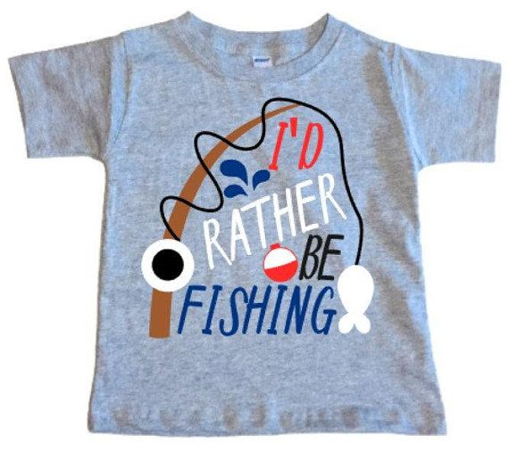 68866d2eb8f3 I d Rather Be Fishing Toddler T-Shirt Little Boy And Girl
