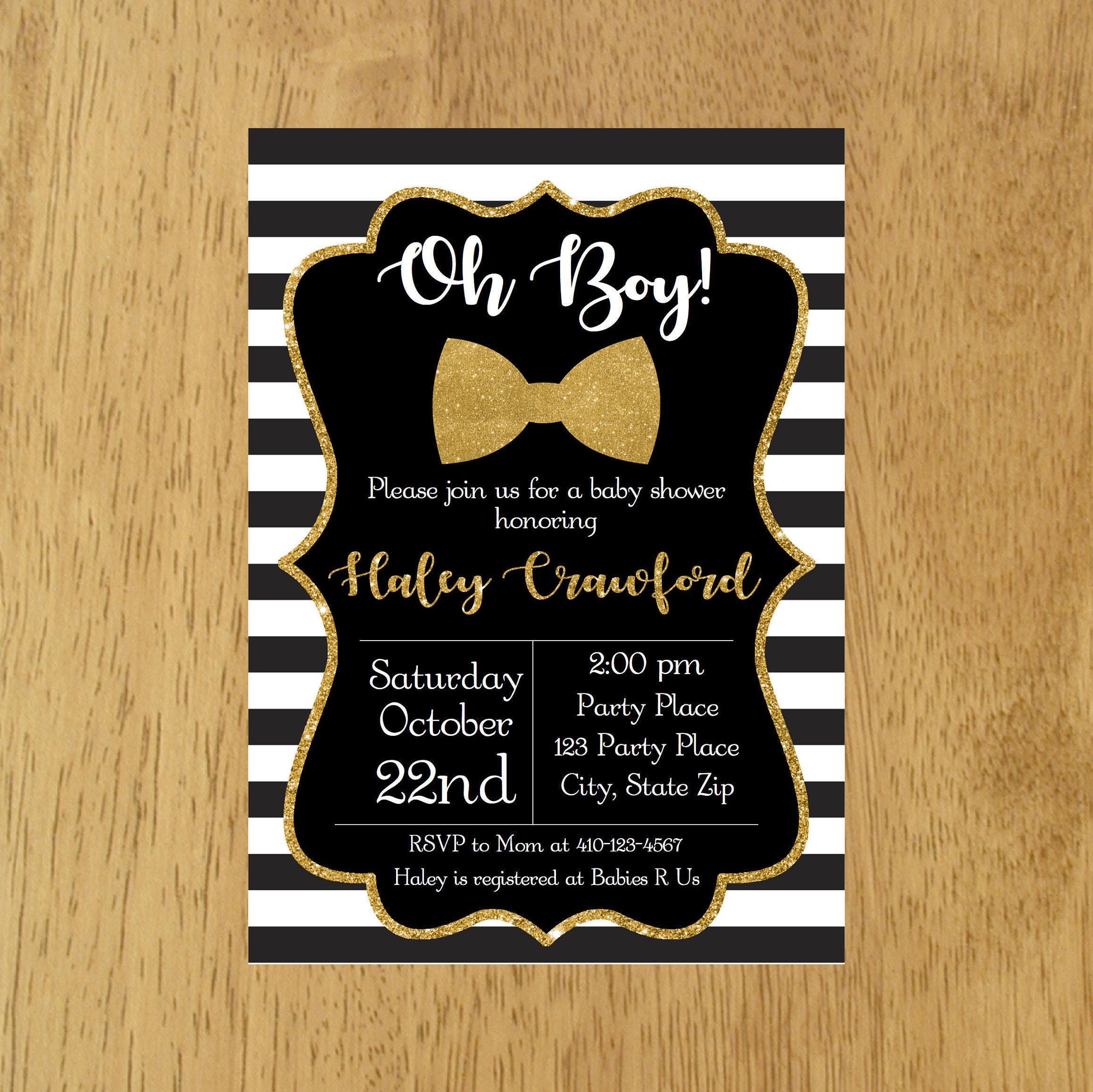 Little Man Baby Shower Invitation, Black and Gold Baby Invitation ...