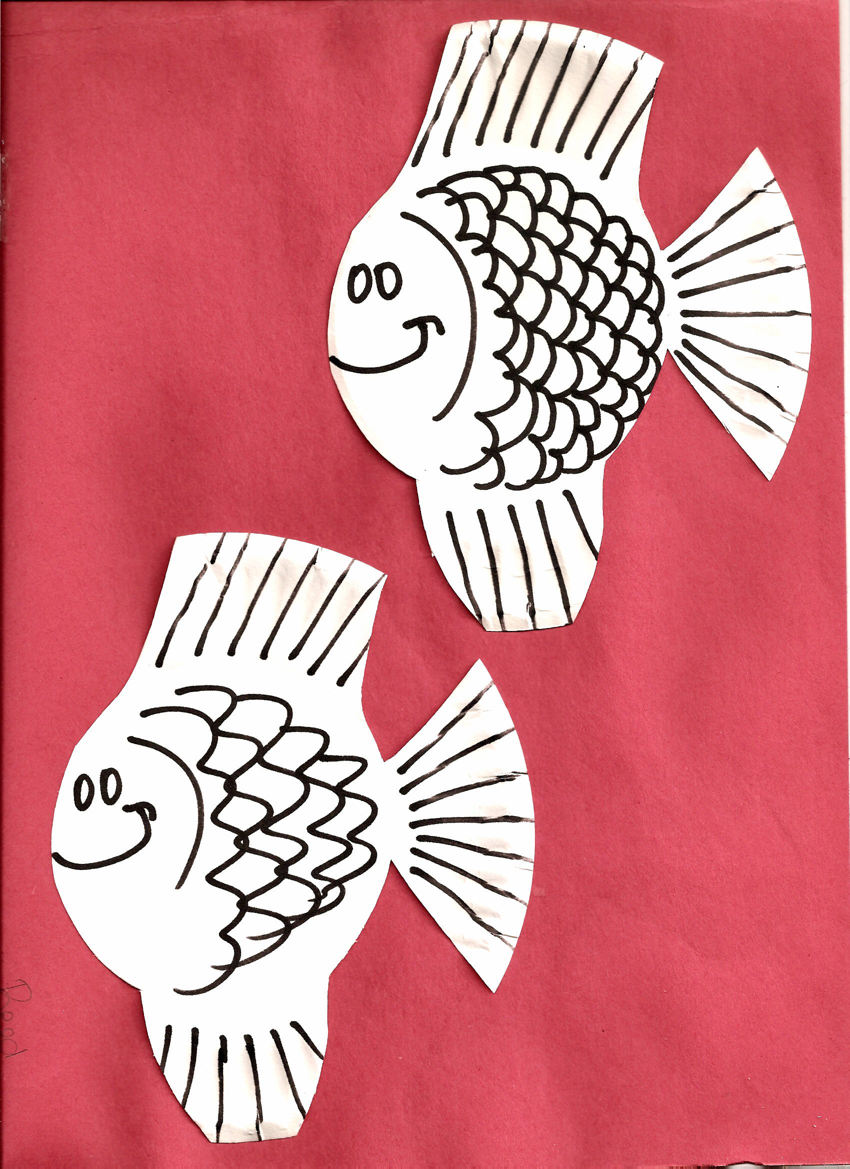 Small white paper plate cut in fish shape; draw on scales, face, etc ...