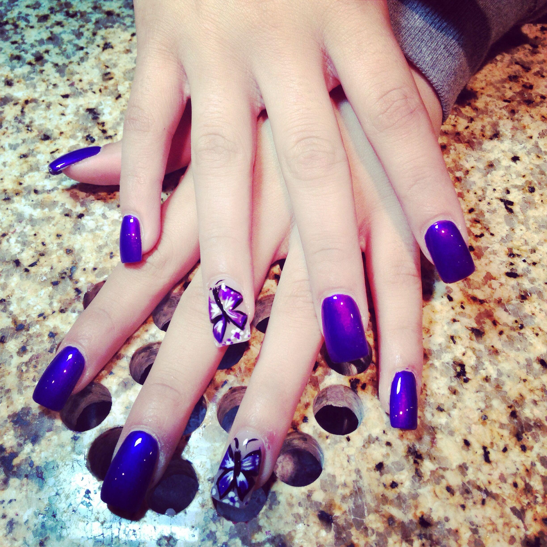 Purple nailsart
