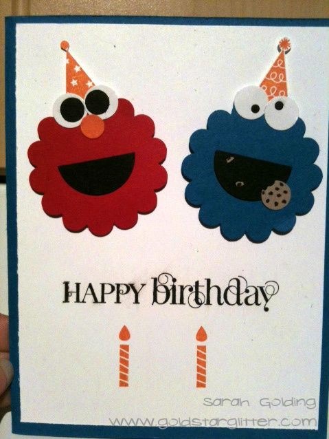 Elmo And Cookie Monster Birthday Card Childrens Card Ideas