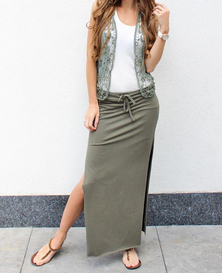witte lange rok met split