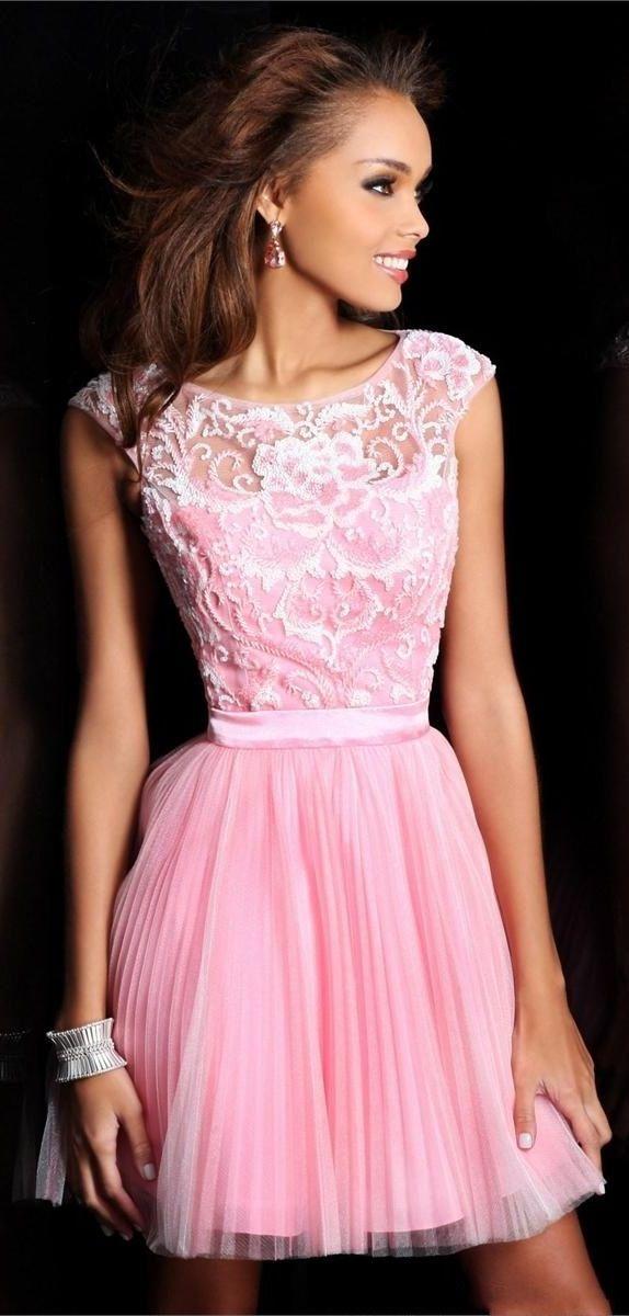 Bateau Pleated Sexy Back Pink Short Dress 2013 | Vestidos De Dama ...
