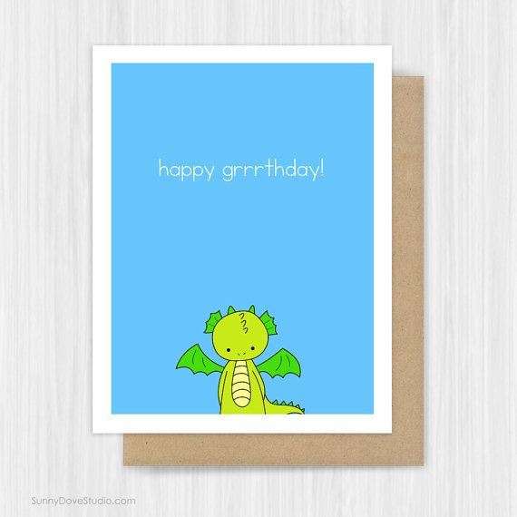 Funny Birthday Card For Friend Him Her Dragon Pun Happy Birthday