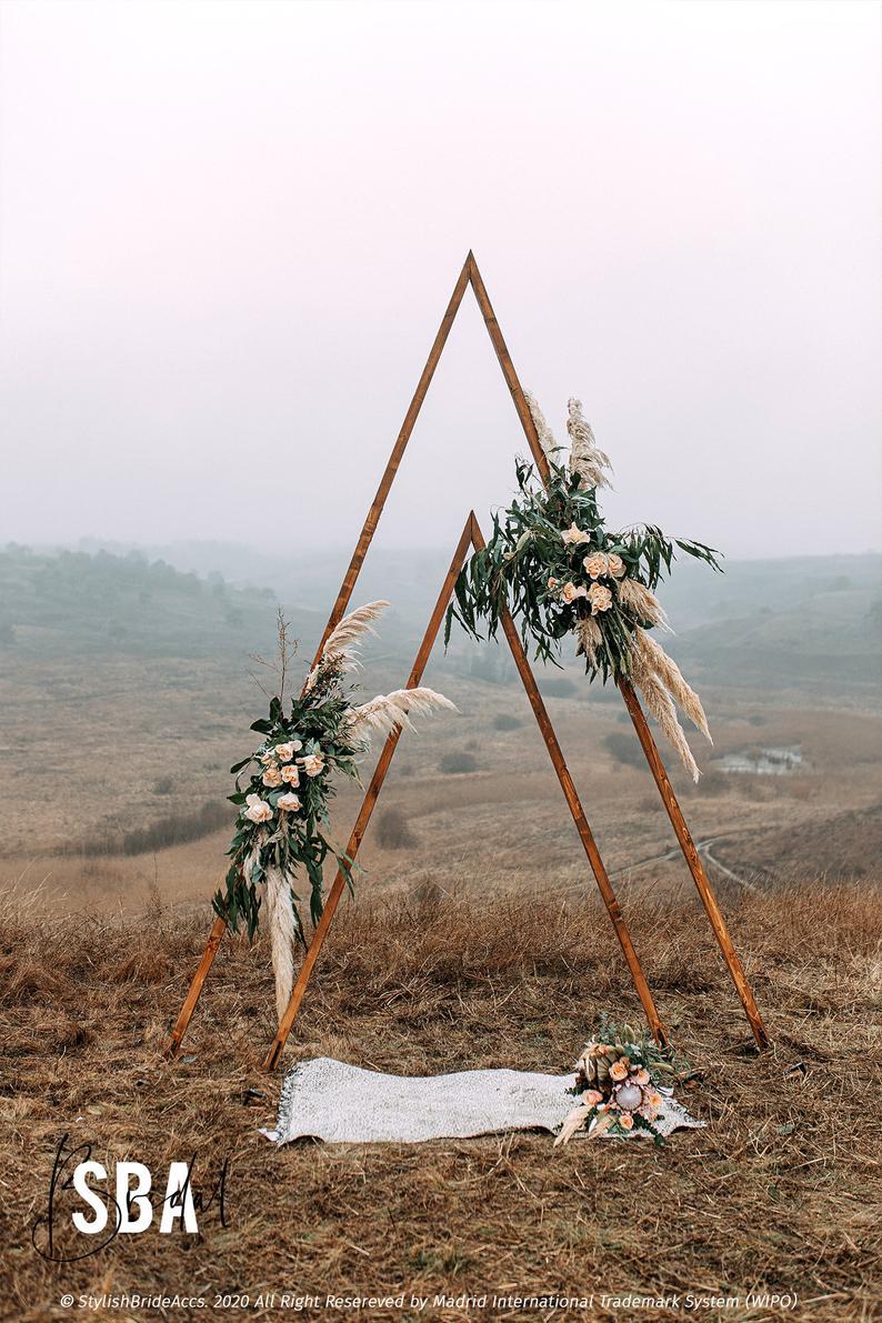 Wedding Arch, Boho Wedding decor, Triangle Wedding Arch, Boho decor, Backdrop Rustic arch, Wooden A-Frame Wedding Arbor, Outdoor decoration