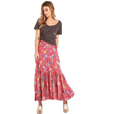 78e58f8d7b1ed Hippie Long Skirt 2017 New Summer Boho Chic Beach Floral Print Elastic Waist  Casual Holiday Mori Girl Women Skirts Beach Wear
