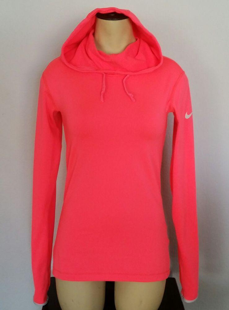 Women's Nike Pro Small Hyperwarm Dri Fit Hoodie neon pink