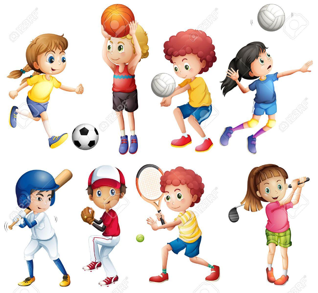 illustrazione di molti bambini che fanno sport clipart royalty free rh pinterest co uk Basketball Clip Art Football Player Clip Art