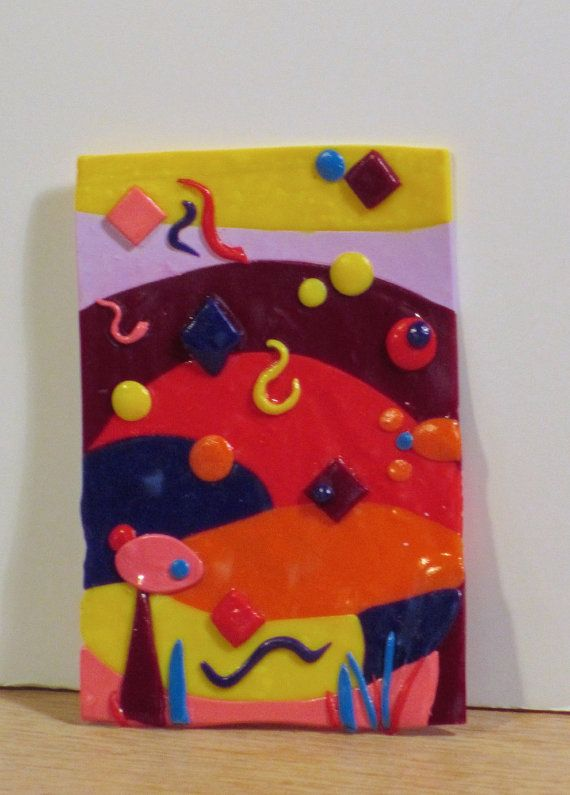ACEO polymer clay abstract No 2 by artbyesely on Etsy