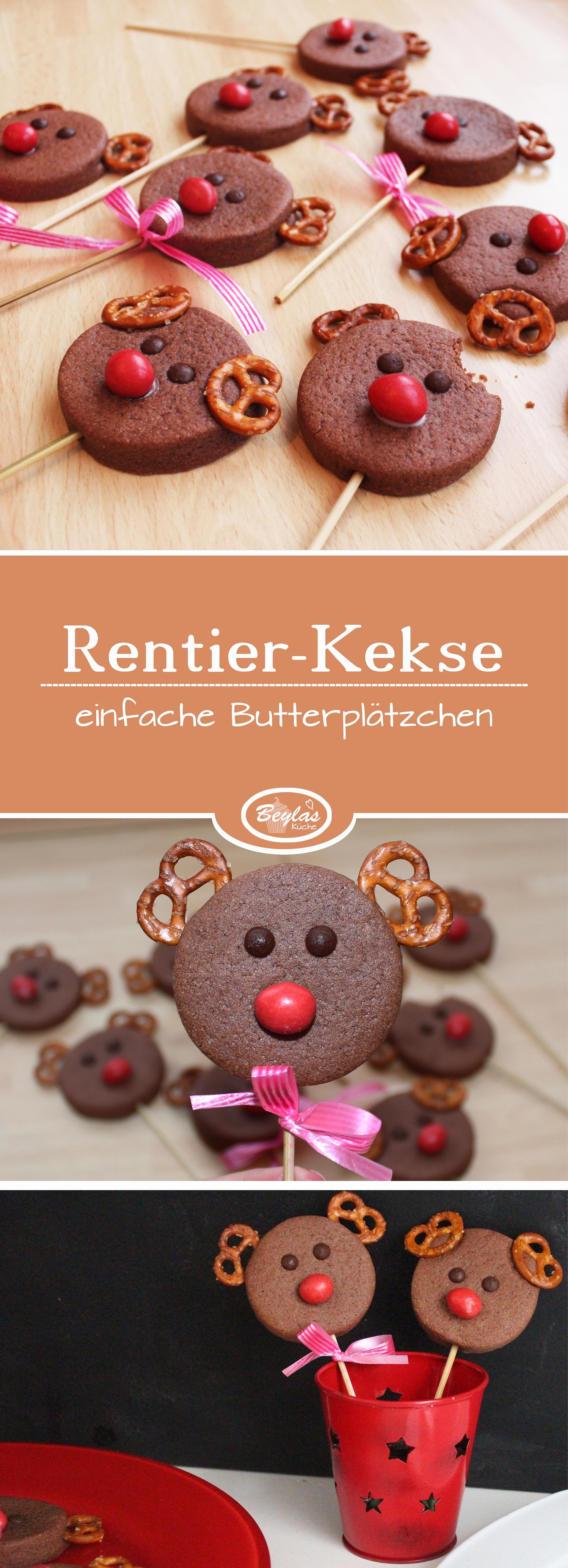 Rentier Kekse aus einfachen Butterplätzchen - ideal um mit Kindern gemeinsam zu backen. #kekseweihnachtenkinder