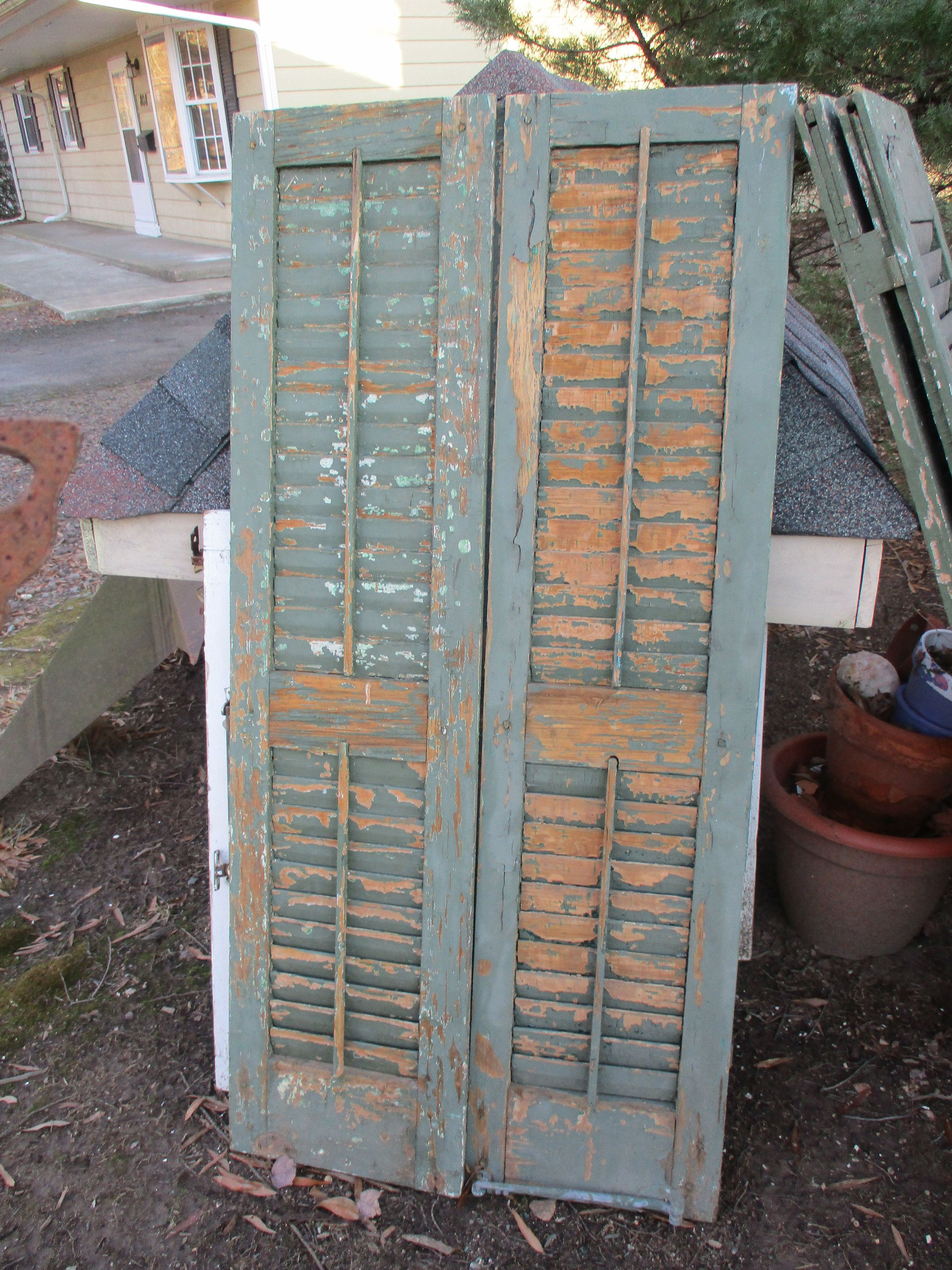 Sale Antique Pair Shutters Old Green French Country Louvered Panel Wood Shutter In 2020 Wood Shutters Real Hardwood Floors Stone Flooring