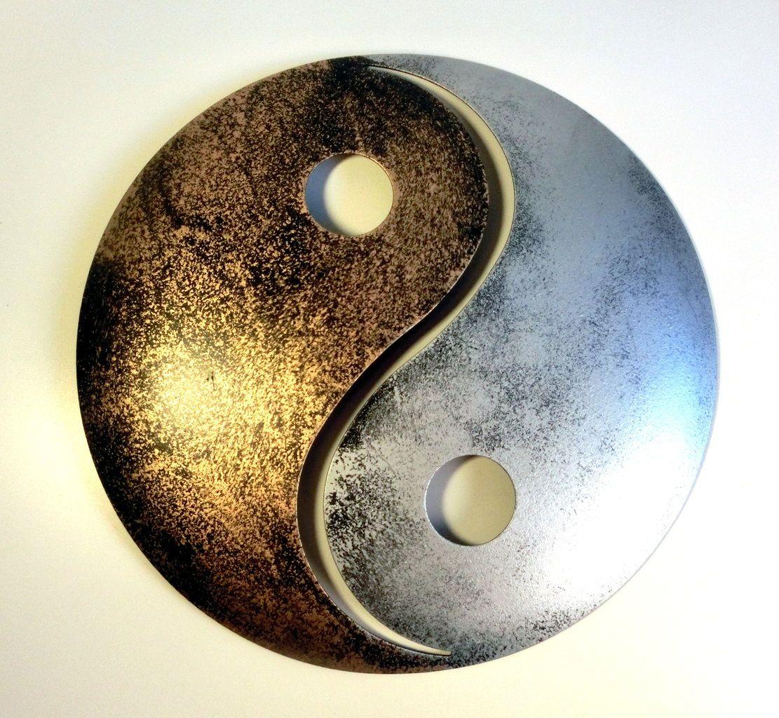 yin und yang gold silber pulverbeschichtetes metall wanddekoration f r innen und au en. Black Bedroom Furniture Sets. Home Design Ideas