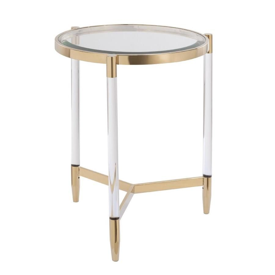 Boston Loft Furnishings Bihet Plated Gold Glass Round End Table Lowes Com Metallic Accents Living Room End Tables Art Deco Coffee Table [ 900 x 900 Pixel ]
