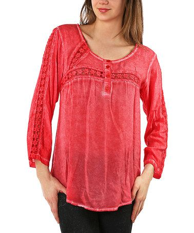 Another great find on #zulily! Red Floral Embroidered Scoop Neck Top - Plus #zulilyfinds