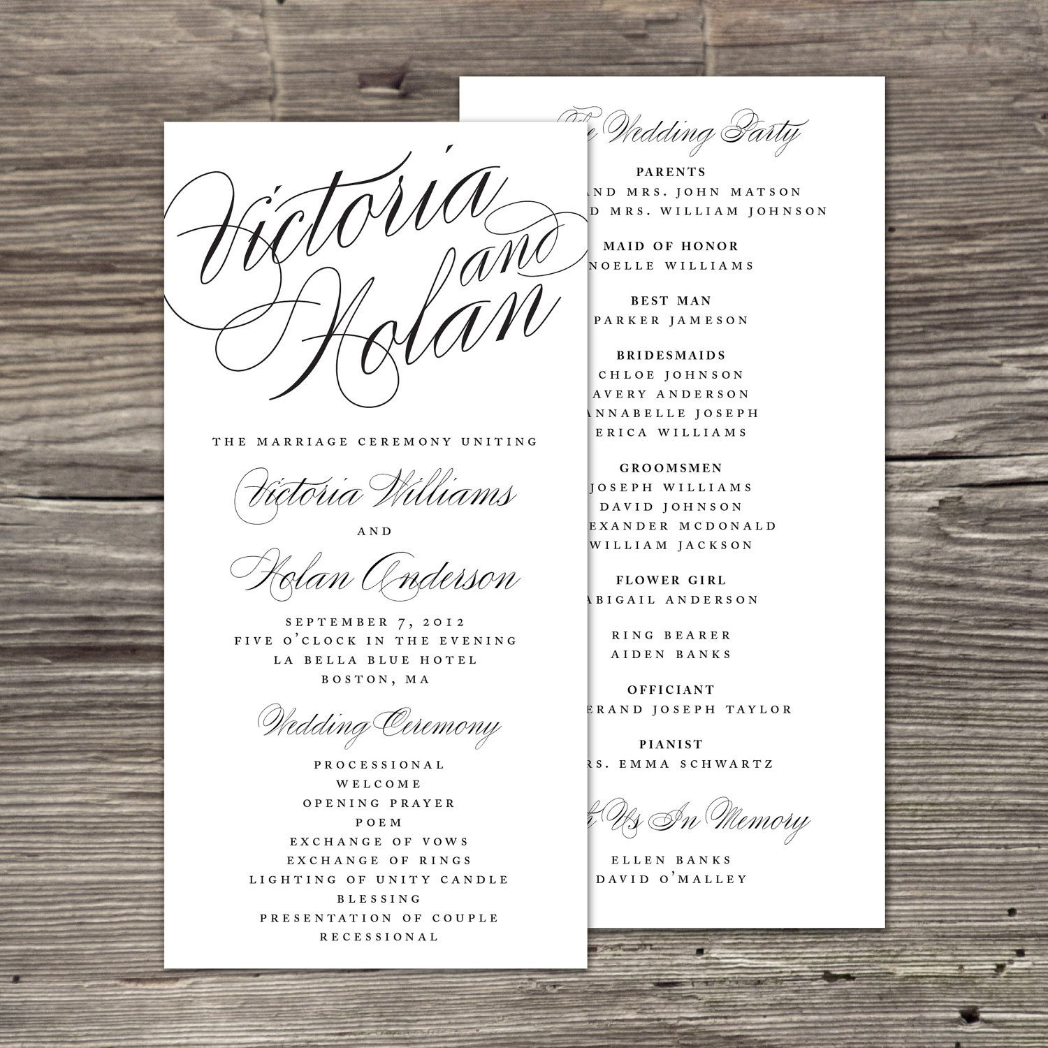 Calligraphy Wedding Program | Wedding programs, Calligraphy and ...