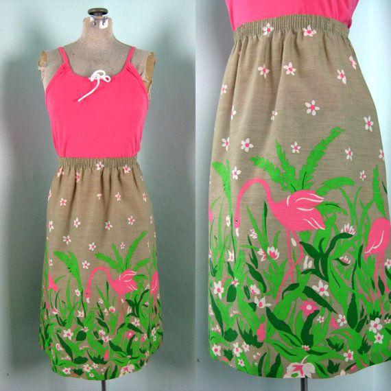 1970s skirt 70s BORDER PRINT FLORAL lily flower fit flare full skirt