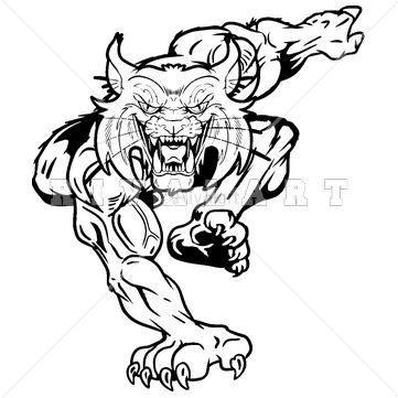 Mascot Clipart Image Of A Black And White Wildcats Graphic Clip