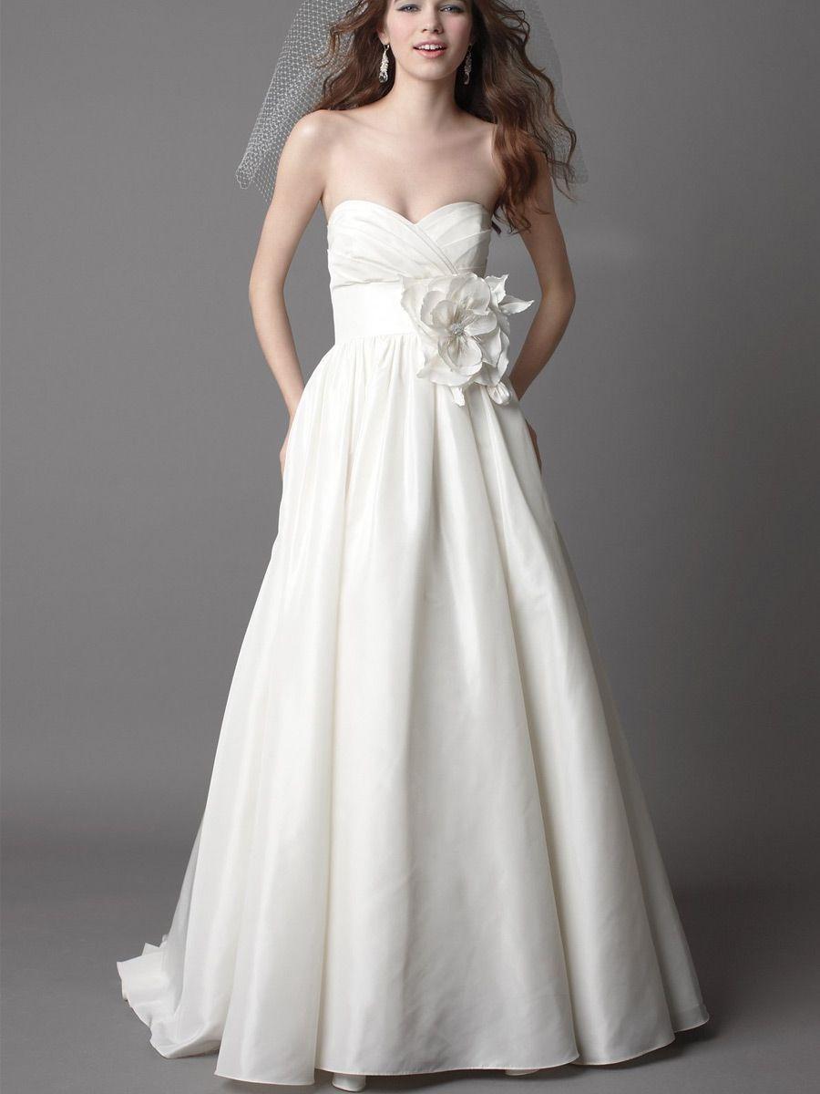 Ivory Taffeta Strapless Chapel Train Wedding Dress with
