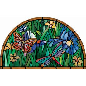 Style Selections 36 In X 22 In Multicolor Stained Glass Semicircle Door Mat