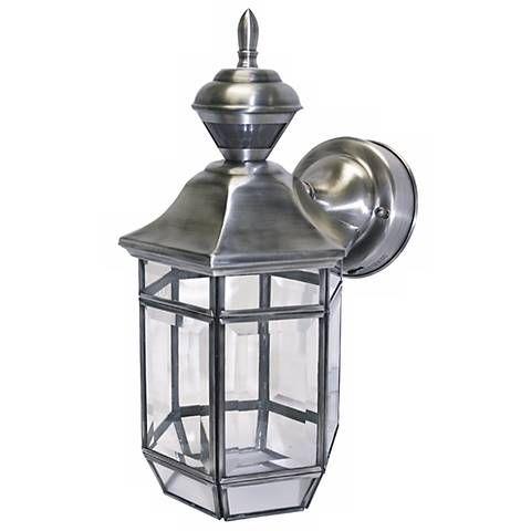 Motion Sensor 13 1 2 High Antique Silver Outdoor Light 34659