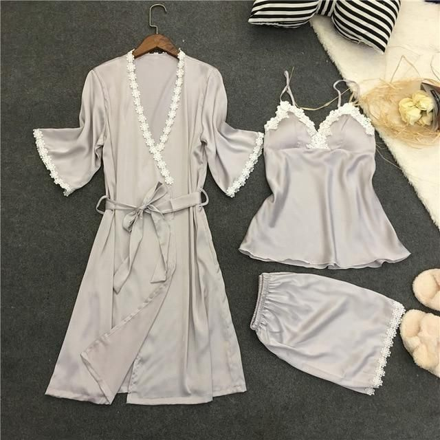 8b99516d3b61 Buy Satin Pajamas for Women Elegant 3Pieces Sleepwear Female Sexy At  narvay.com. Sleepwear