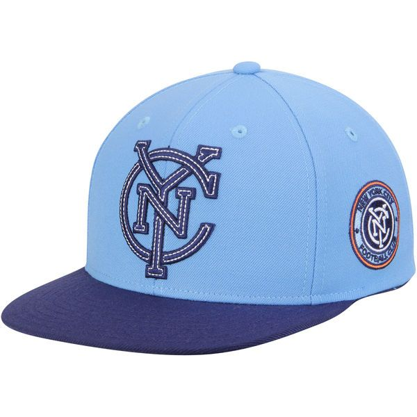 3fcfecd4eaa Men s adidas Light Blue New York City FC Two-Tone Flat Brim Snapback ...