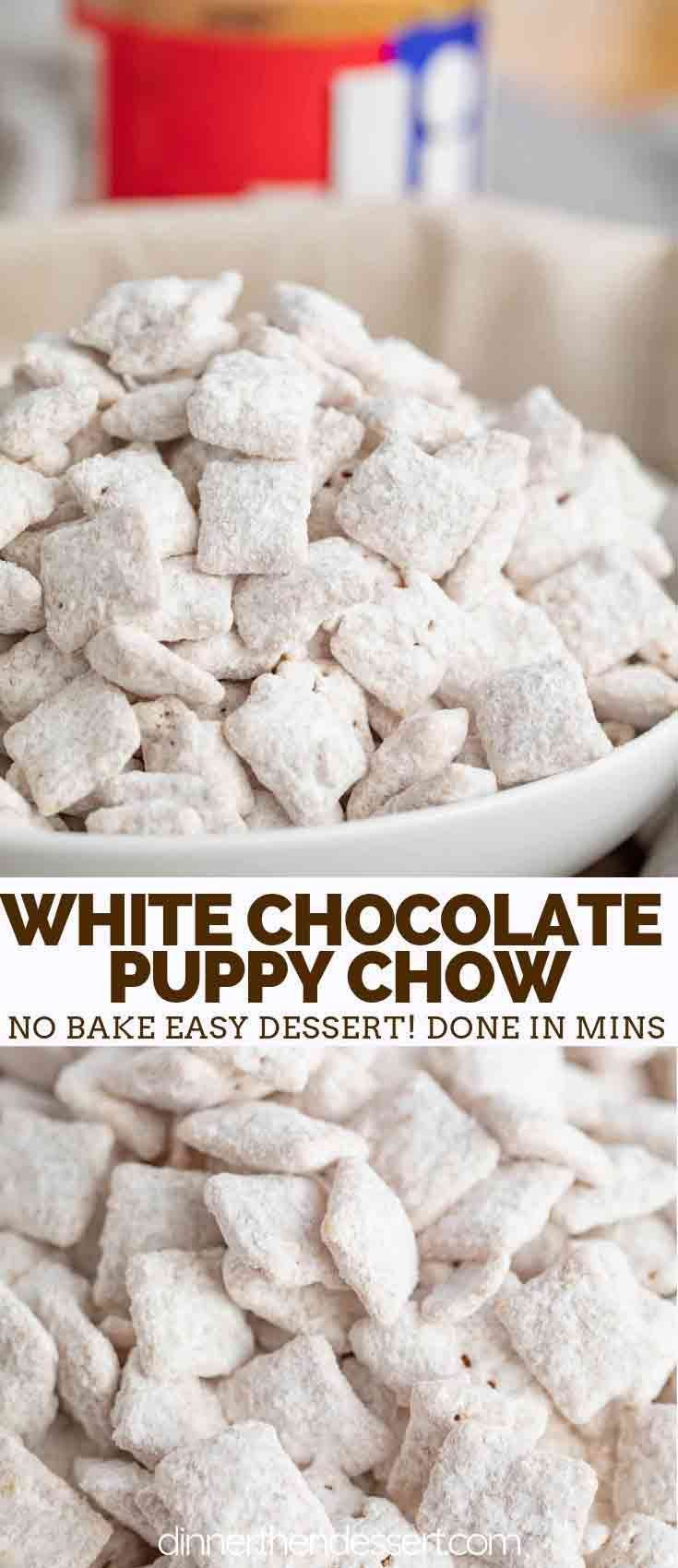 White Chocolate Puppy Chow (Muddy Buddies) are crunchy and sweet, made with ONLY 4 ingredients, Chex cereal, peanut butter, white chocolate, and powdered sugar, and ready in under 5 minutes! #muddybuddies #nobake #christmas #puppychow #chocolate #peanutbutter #chexmix #valentinesday #desserts #holiday #dinnerthendessert #puppychow
