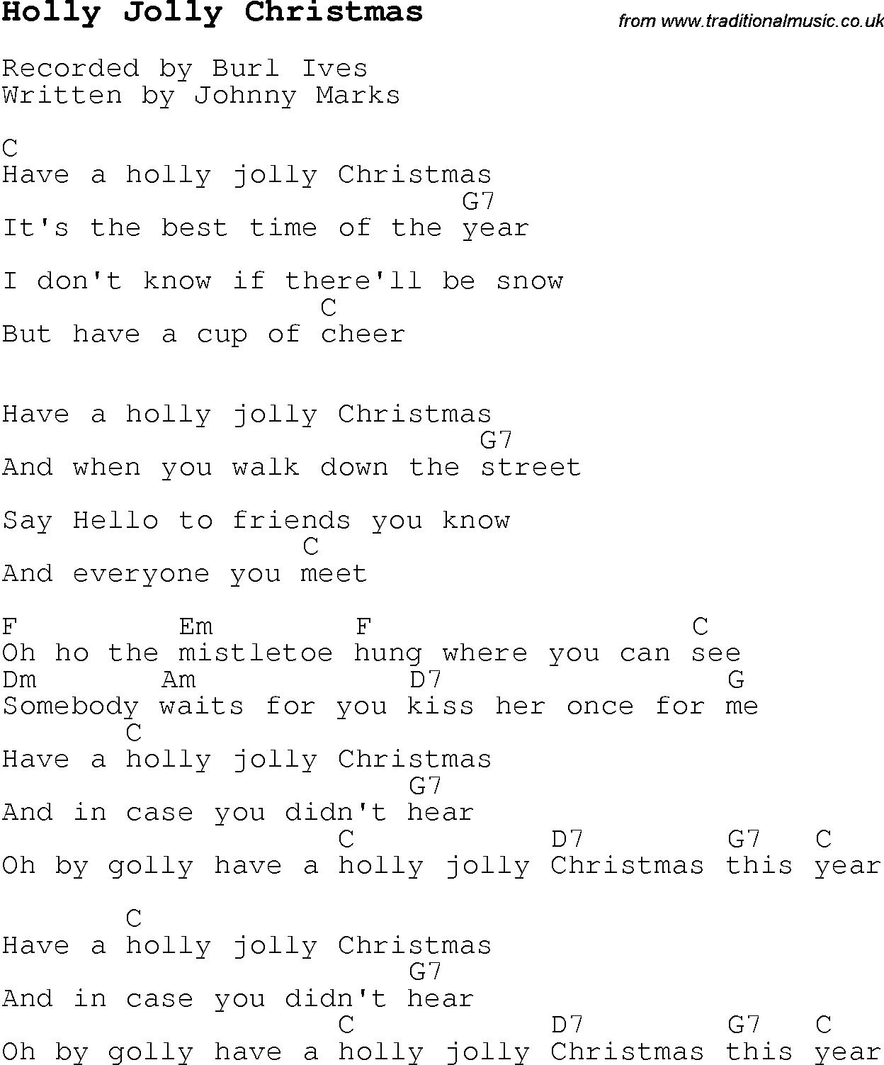 christmas songs and carols lyrics with chords for guitar banjo for holly jolly christmas - Christmas Songs Ukulele