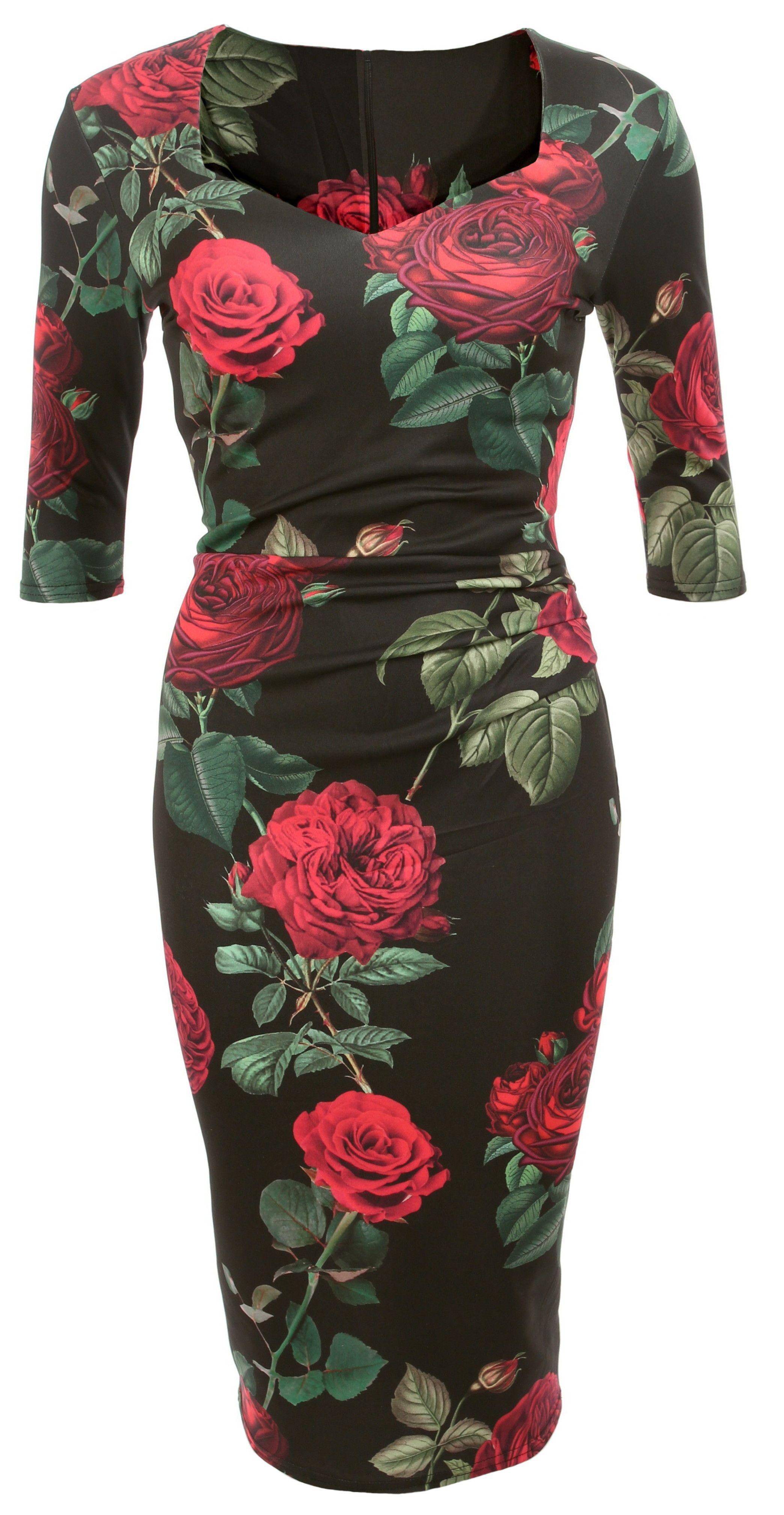 Black And Red Rose Print Midi Dress 49 99 Floral Bodycon Midi Dress Printed Midi Dress Dresses [ 4032 x 2088 Pixel ]