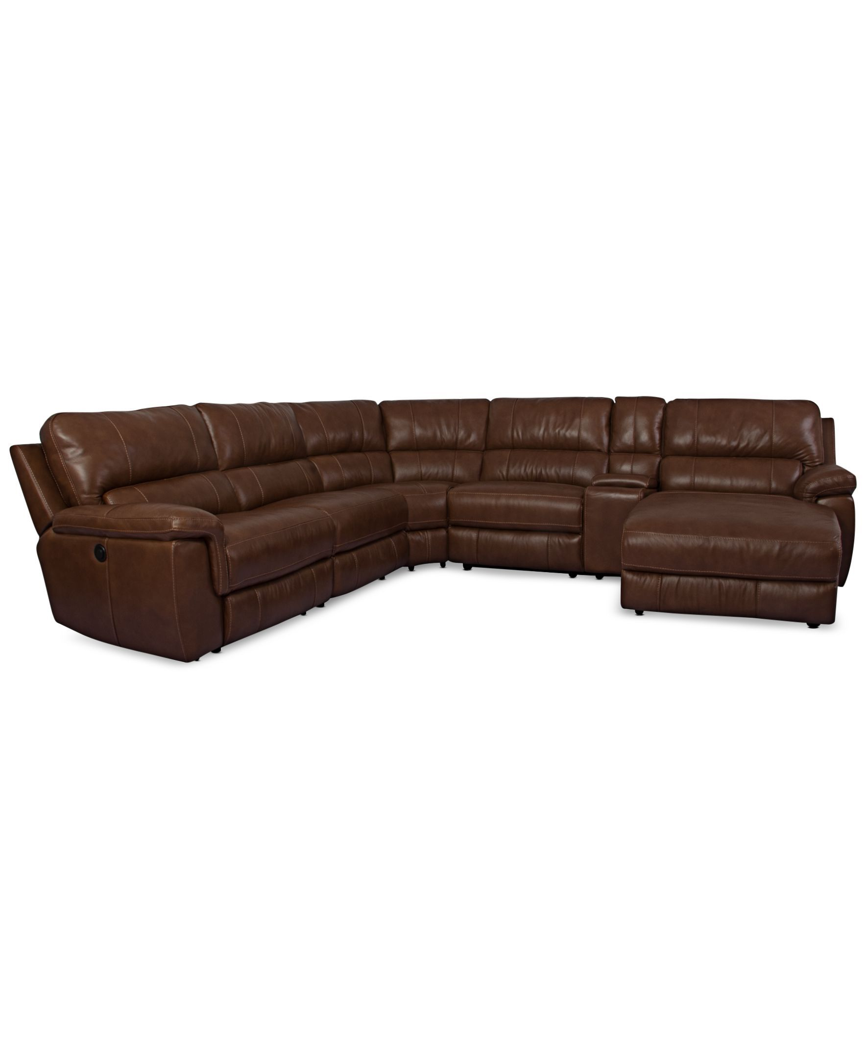 Brandie Leather 6-Piece Chaise Sectional Sofa with 2 Power Recliners
