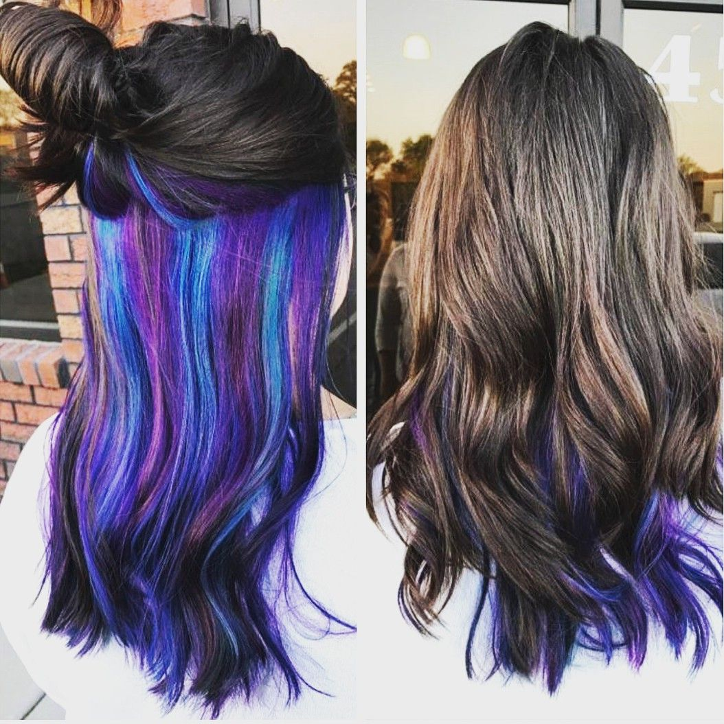 Purple Blue Green Layered Under Natural Brown Hair In