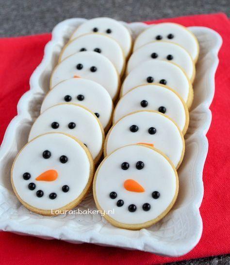 Sneeuwman gezicht koekjes - Lauras Bäckerei #face