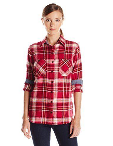 1729c577f Dickies Women's Herringbone Flannel Shirt, Plaid Lemonade Antique White,  Medium Dickies http:/