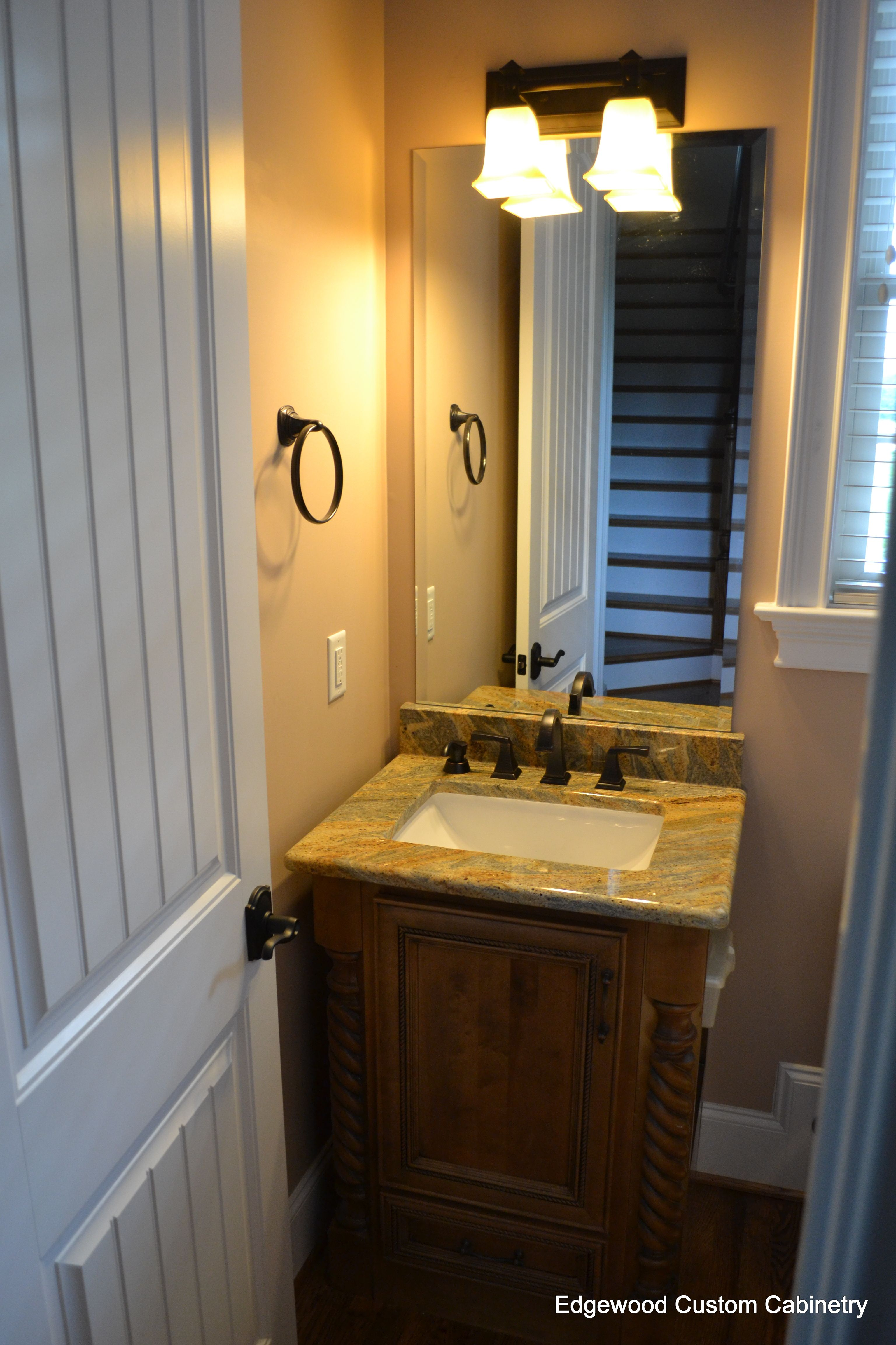 Half Bath Vanity With Rope Accents, Drawer Below And Open Shelving On The  Side.