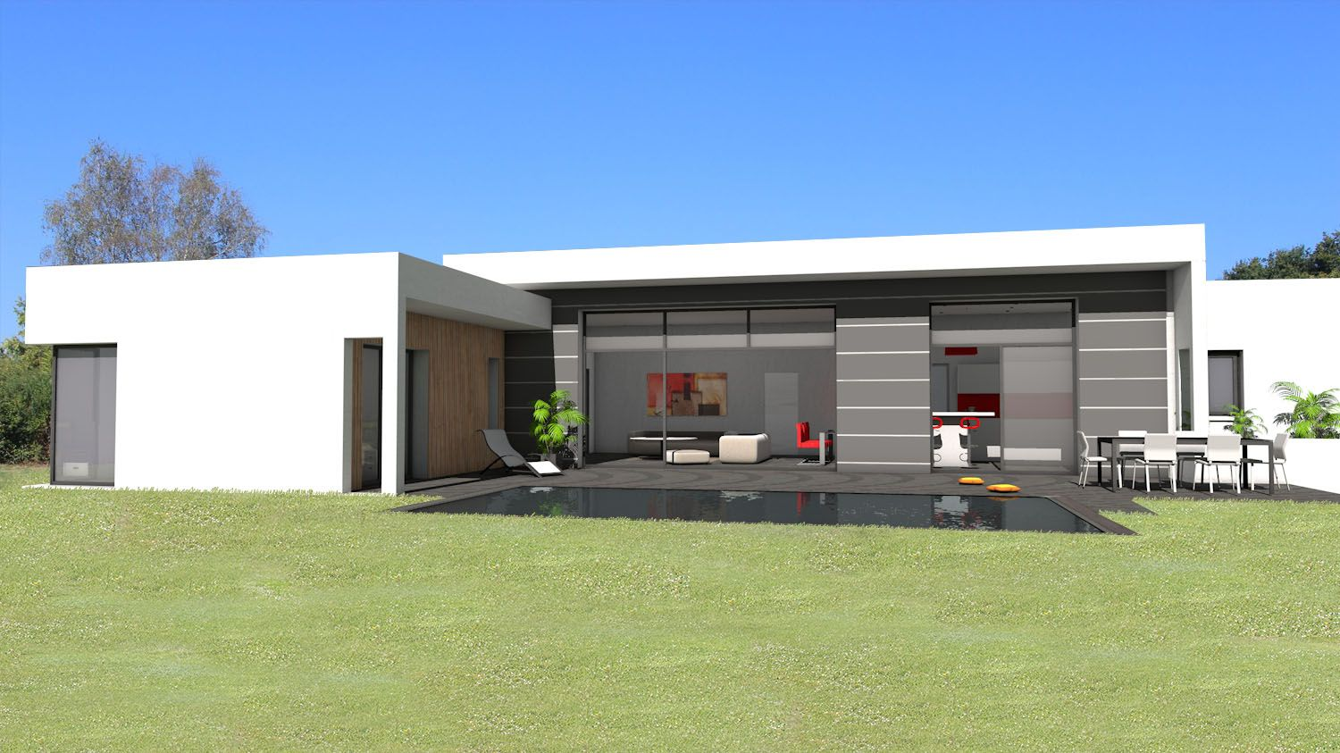 Atelier d 39 architecture sc nario maison contemporaine de for Plan maison contemporaine plain pied toit plat