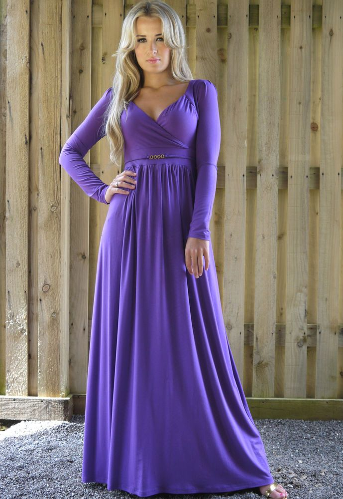 Long Sleeve Empire Style Party Maxi Dress Purple Lavender by MontyQ ...