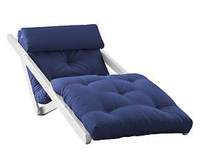 Poltrona/futon in pino e cotone Figo Single white blu - 190x80x70 cm