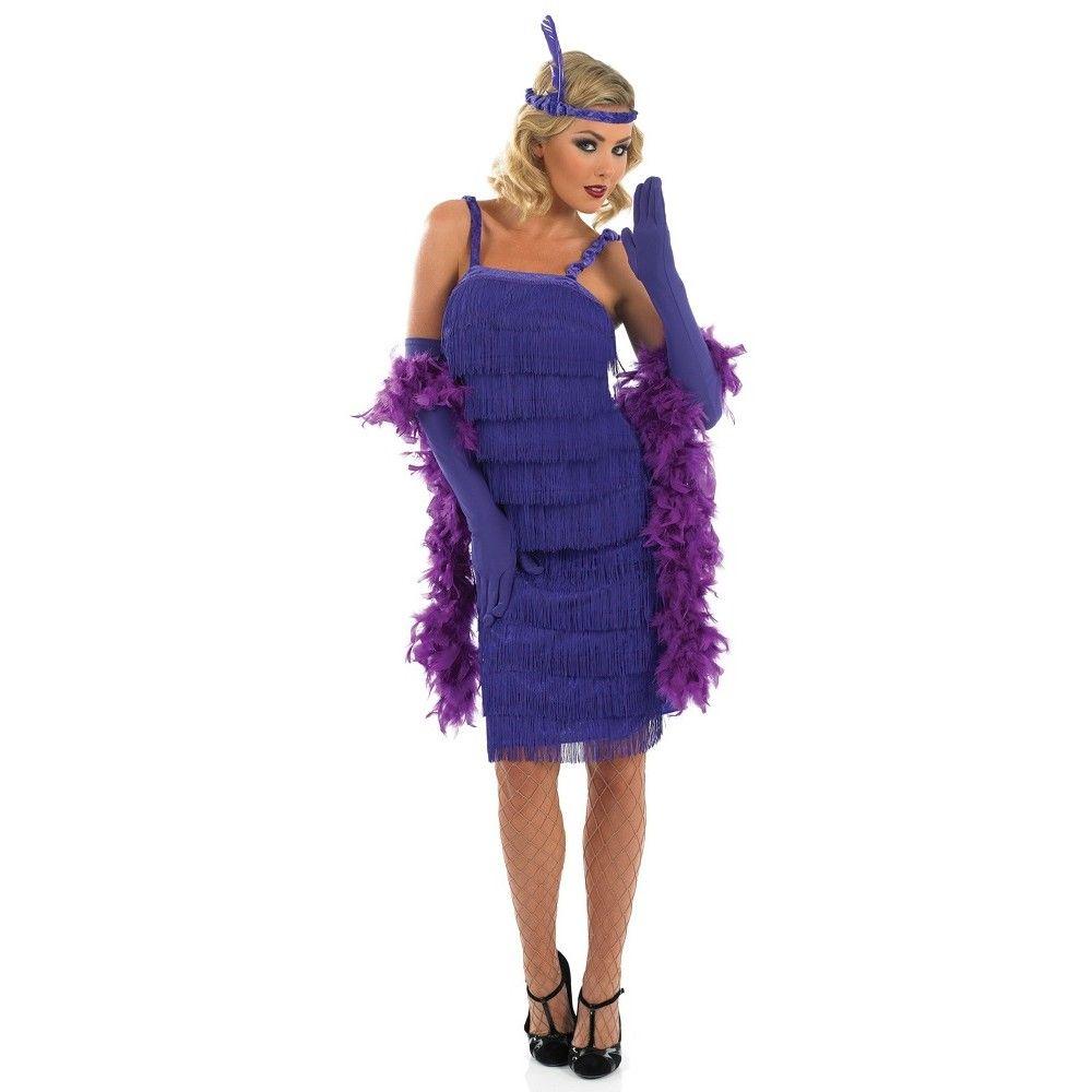Womens 1920s Roaring Purple Flapper Dress Costume The Great Gatsby