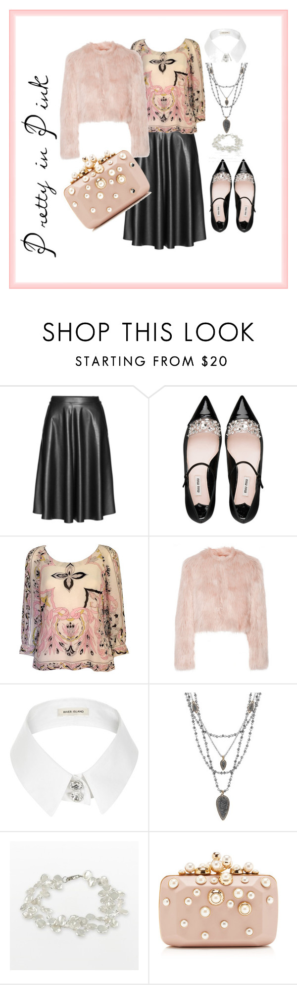 """Pretty in Pink"" by tweedleduh on Polyvore featuring Persona, Miu Miu, Emilio Pucci, RED Valentino, River Island, Lucky Brand, Elie Saab, plussize, plussizefashion and curvesarebeautiful"