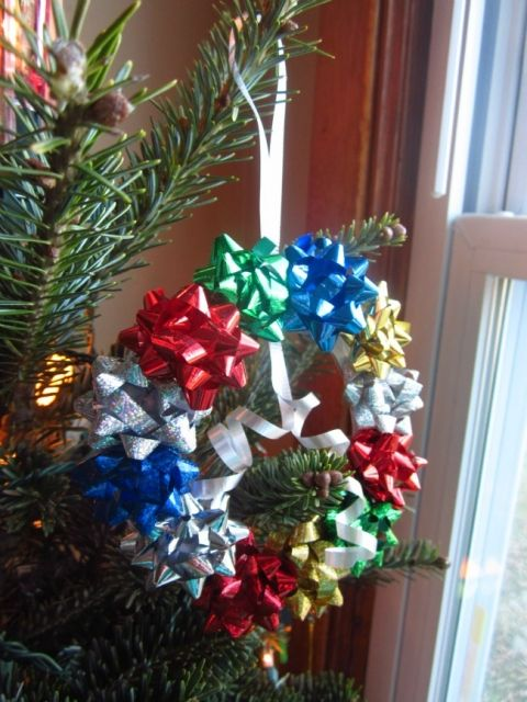 Easy Christmas Ornament - Kids Bow Wreath Ornament Craft - B - dollar general christmas decorations