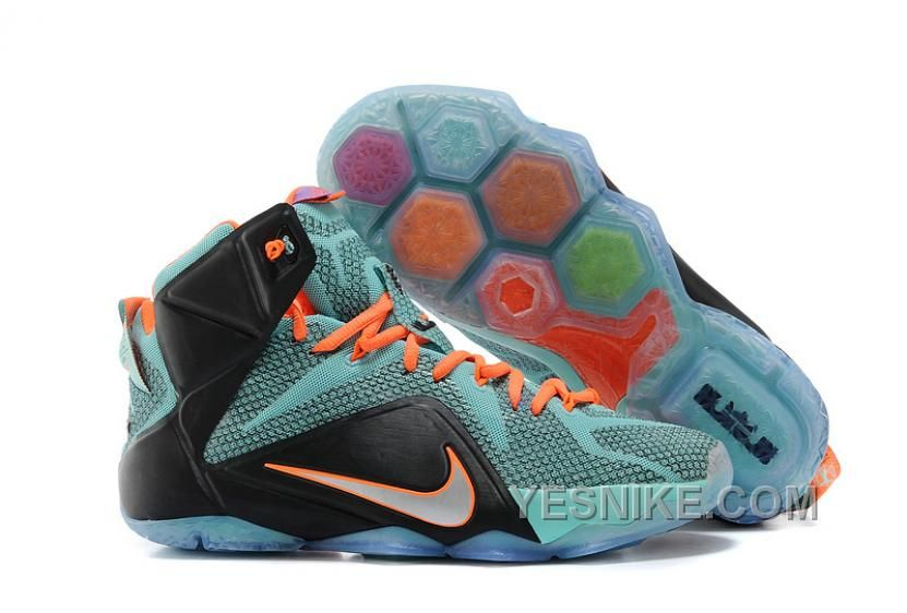Big Discount  66 OFF Nike LeBron 12 TealOrangeBlack For Sale 311799