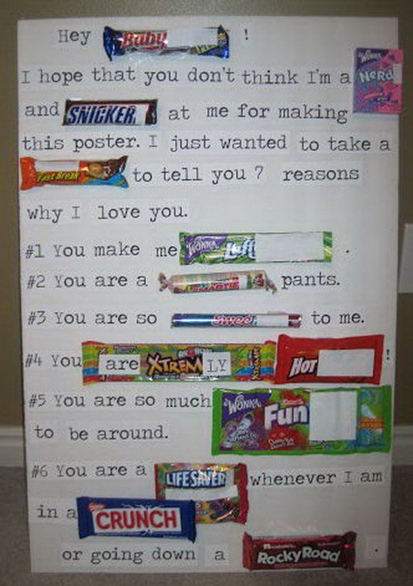 Candy Bar Poster Ideas with Clever Sayings – Valentine Card Ideas with Candy