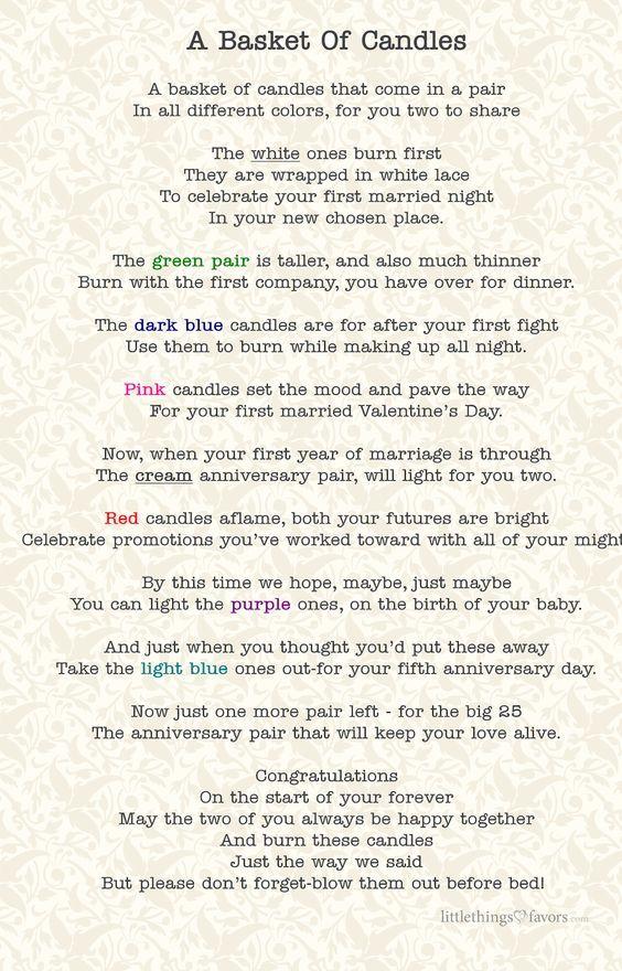 Printable Bridal Shower Candle Poem A Basket Of Candles Bridal Shower Candle Poem Bridal Shower Candle Candle Bridal Shower Gift