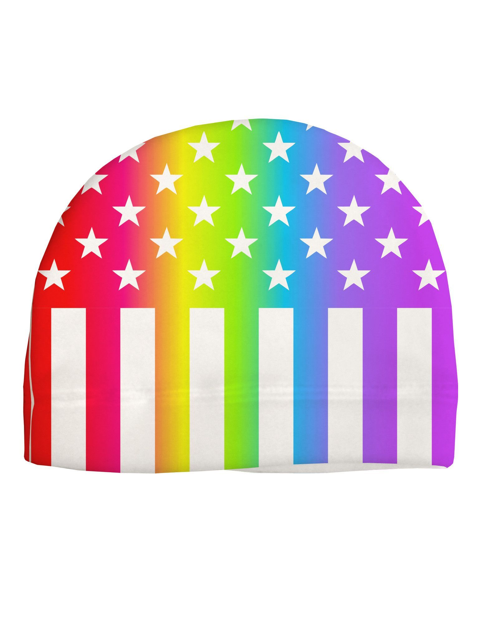 4a4cc0d18a5 American Pride - Rainbow Stars and Stripes Child Fleece Beanie Cap Hat All  Over Print