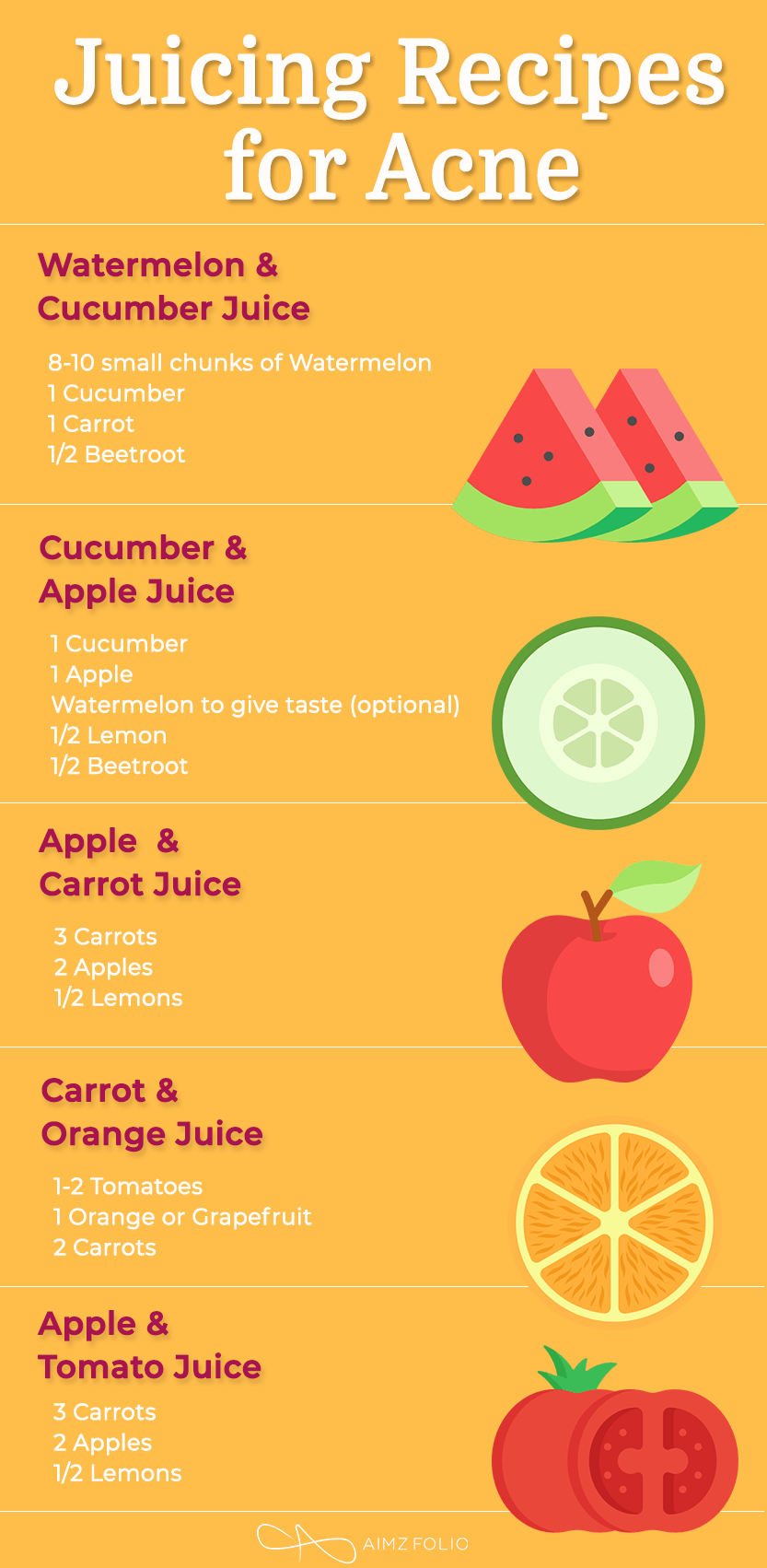 Juicing Recipes to get Rid of Acne & Blemishes || Get Beautiful Skin with Juices - AimzFolio #healthyjuicerecipes