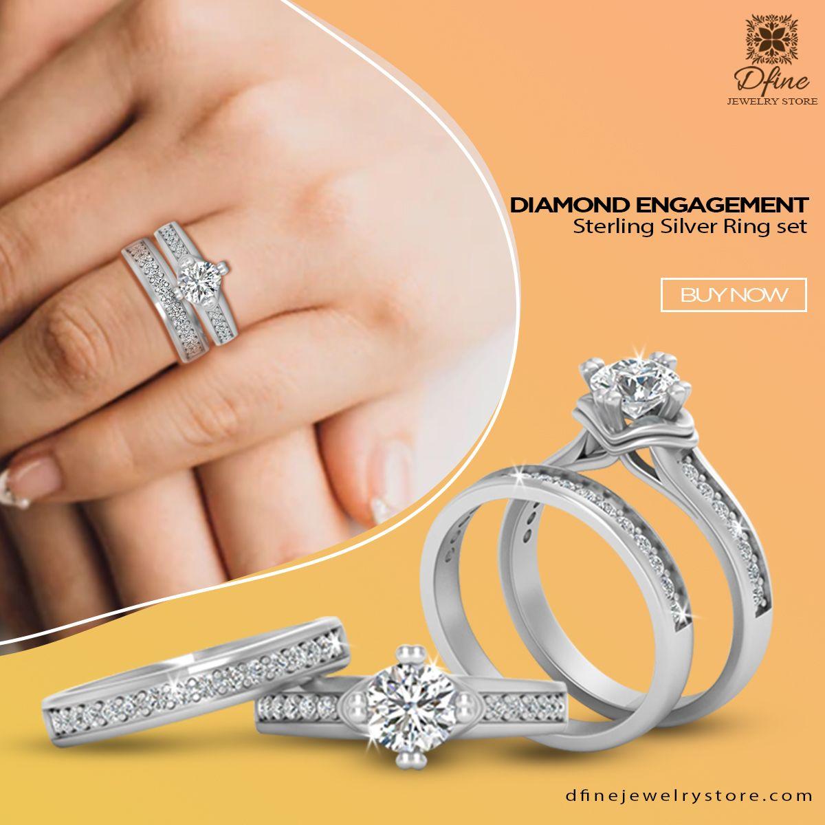 Gorgeous Diamond Ring Set Dfine Jewelry Store In 2020 Wedding Rings Engagement Diamond Engagement Ring Set Engagement Rings