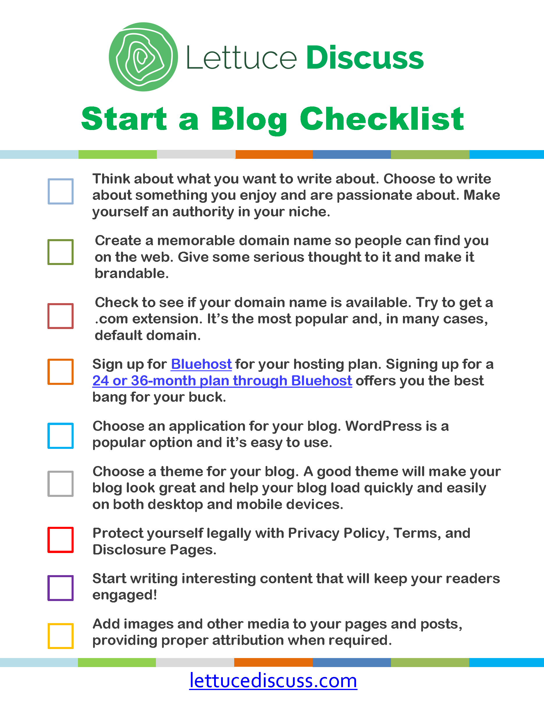 Free Start a Blog Checklist How to start a blog, How to