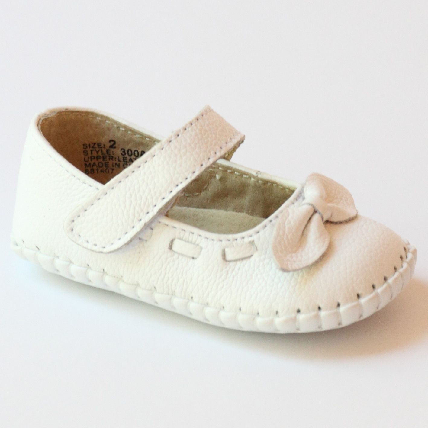 L Amour Infant Girls 3008 White Leather Bow Stitched Mary Janes